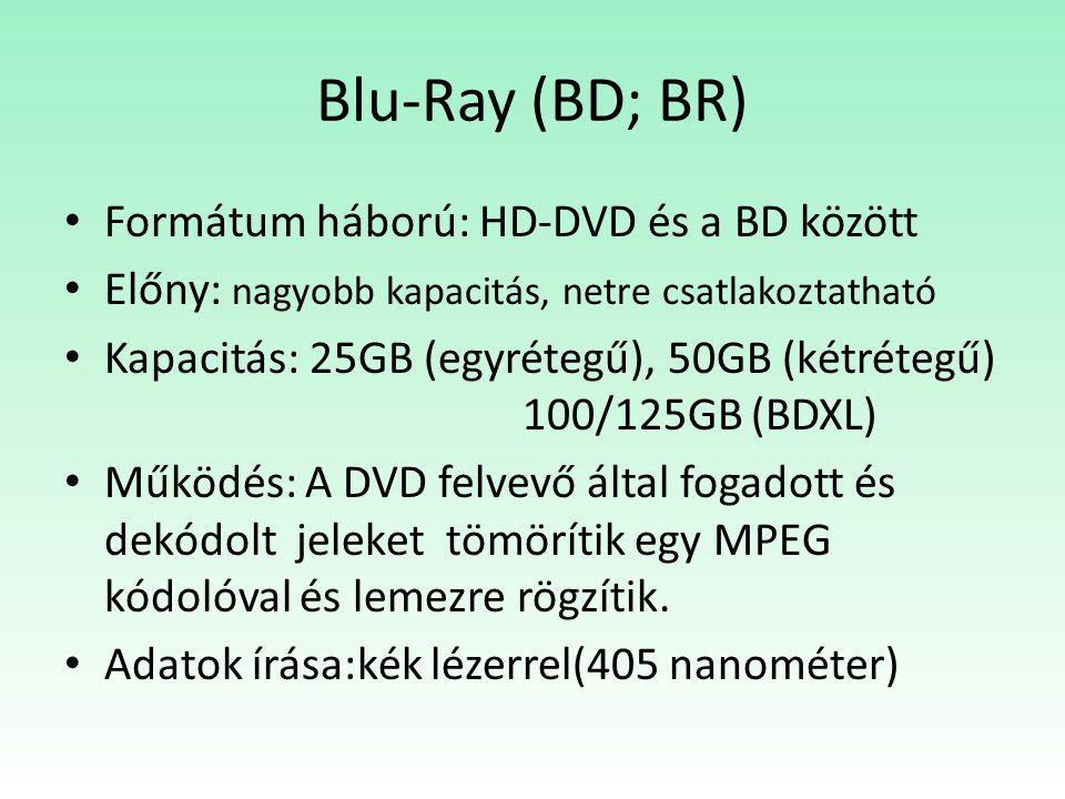 Blu-Ray (BD; BR) Formátum háború: HD-DVD és a BD között Előny: nagyobb kapacitás, netre csatlakoztatható Kapacitás: 25GB (egyrétegű), 50GB (kétrétegű) 100/125GB (BDXL) Működés: A DVD felvevő által fogadott és dekódolt jeleket tömörítik egy MPEG kódolóval és lemezre rögzítik.