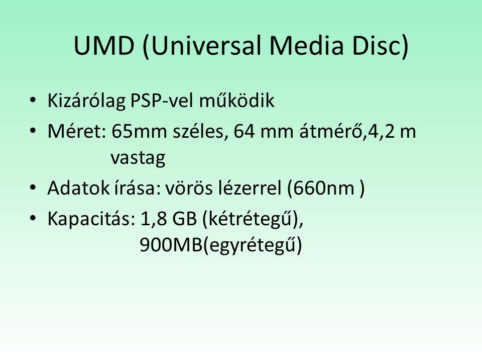 UMD (Universal Media Disc) Kizárólag PSP-vel működik Méret: 65mm széles, 64 mm átmérő,4,2 m vastag Adatok írása: vörös lézerrel (660nm ) Kapacitás: 1,8 GB (kétrétegű), 900MB(egyrétegű)