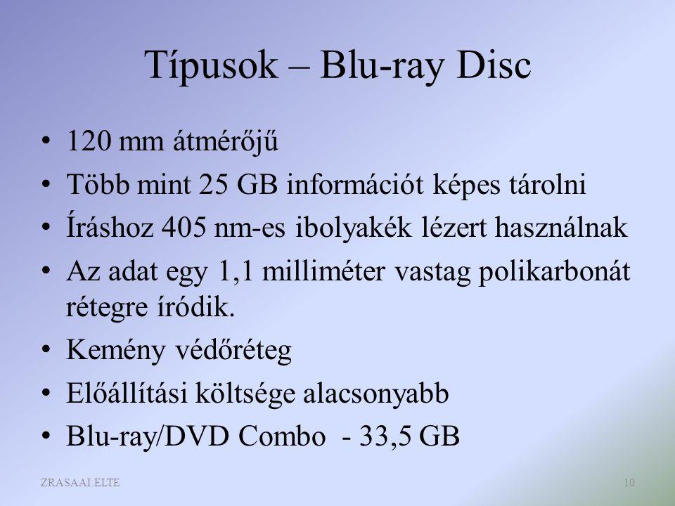 Típusok – Blu-ray Disc 120 mm átmérőjű Több mint 25 GB információt képes tárolni Íráshoz 405 nm-es ibolyakék lézert használnak Az adat egy 1,1 millimé