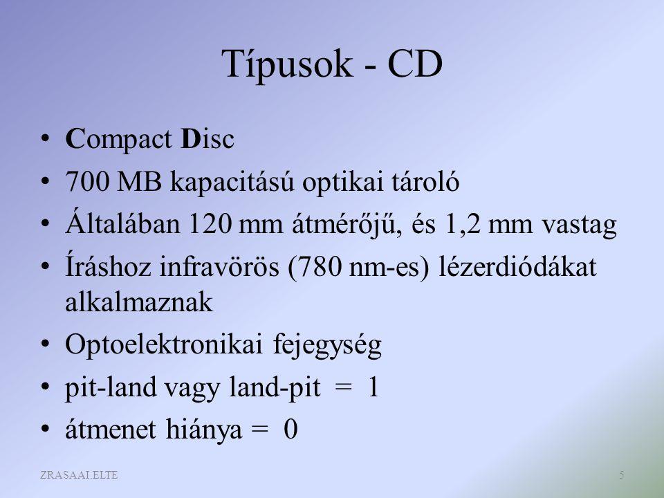 Típusok - CD Compact Disc 700 MB kapacitású optikai tároló Általában 120 mm átmérőjű, és 1,2 mm vastag Íráshoz infravörös (780 nm-es) lézerdiódákat al