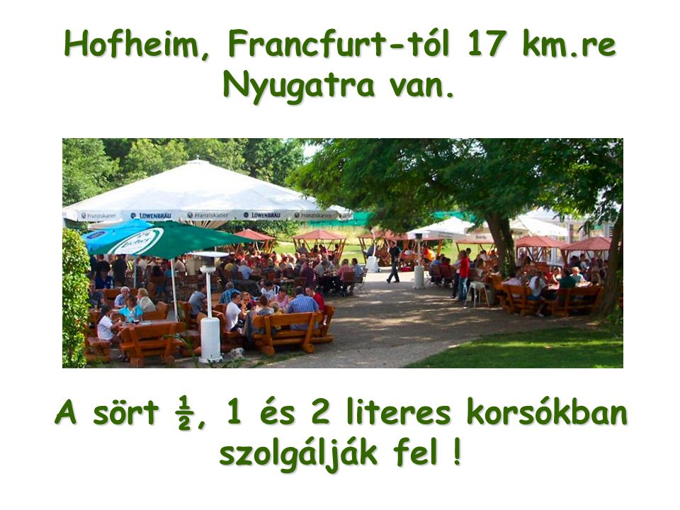 A sört ½, 1 és 2 literes korsókban szolgálják fel ! Hofheim, Francfurt-tól 17 km.re Nyugatra van.