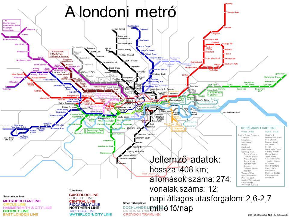 A londoni metró Jellemző adatok: hossza: 408 km; állomások száma: 274; vonalak száma: 12; napi átlagos utasforgalom: 2,6-2,7 millió fő/nap