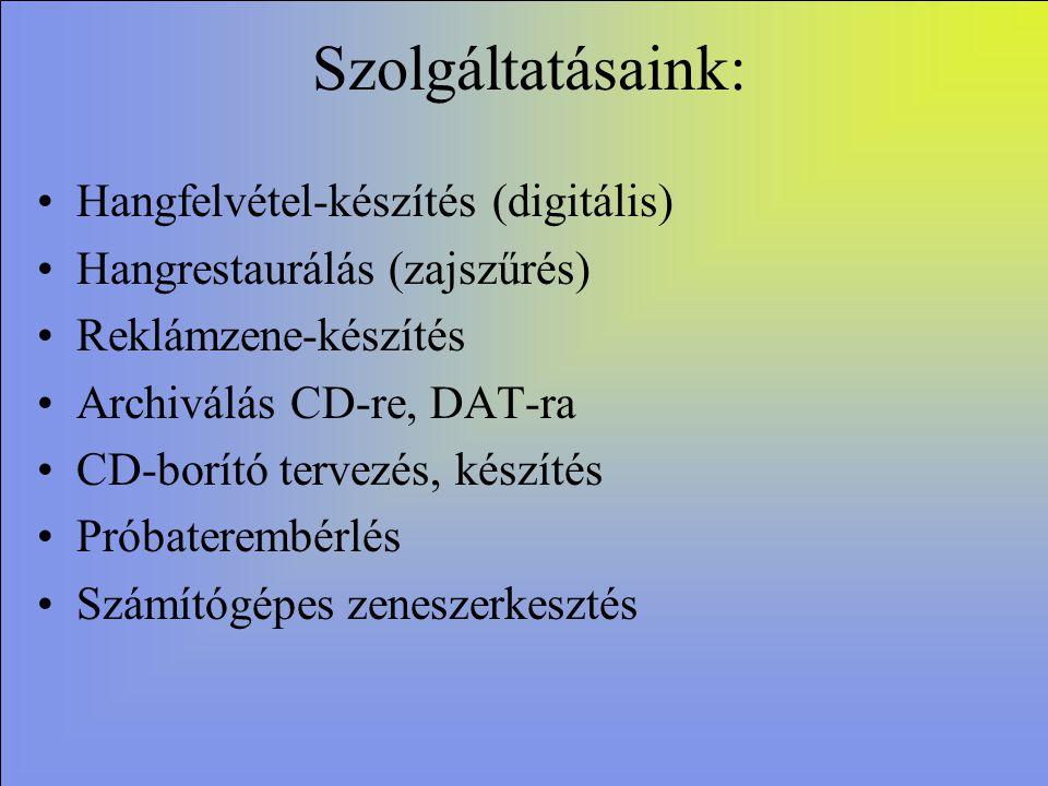 A hangfelvételek referenciaanyaga Szeged, Délceg u.6/B Tel.:62/472-806 Mb. 06/20/9952757 Bajnóczi Sándor Alapítva:1990 Hangmérnök: Diamant Gábor