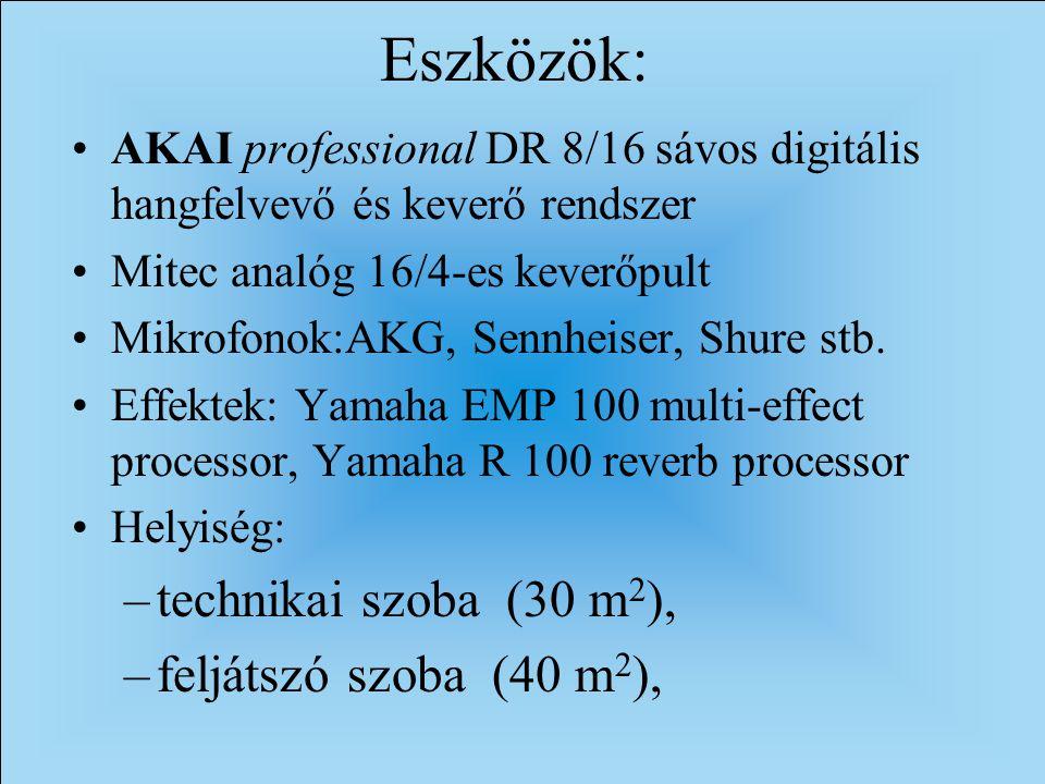 Eszközök: AKAI professional DR 8/16 sávos digitális hangfelvevő és keverő rendszer Mitec analóg 16/4-es keverőpult Mikrofonok:AKG, Sennheiser, Shure stb.