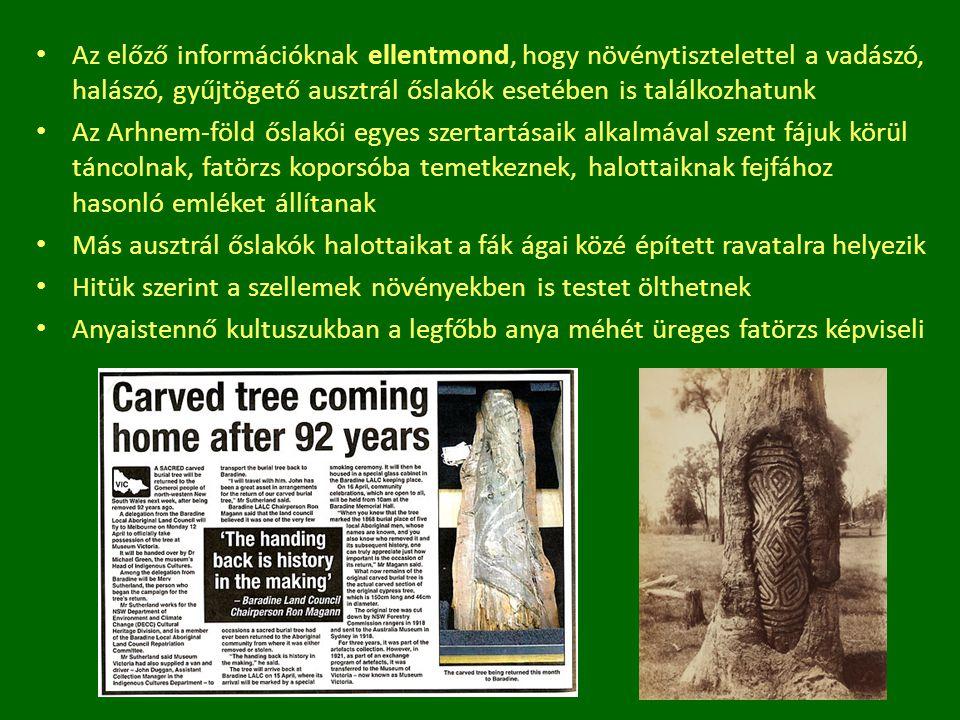 Az előző információknak ellentmond, hogy növénytisztelettel a vadászó, halászó, gyűjtögető ausztrál őslakók esetében is találkozhatunk Az Arhnem-föld