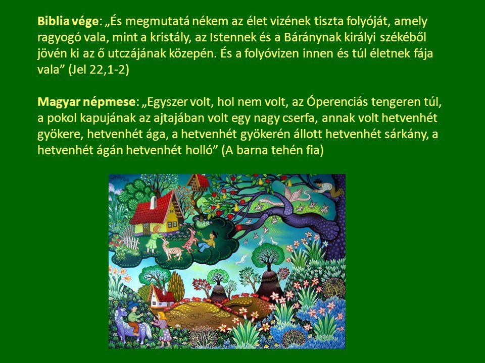 """Biblia vége: """"És megmutatá nékem az élet vizének tiszta folyóját, amely ragyogó vala, mint a kristály, az Istennek és a Báránynak királyi székéből jöv"""