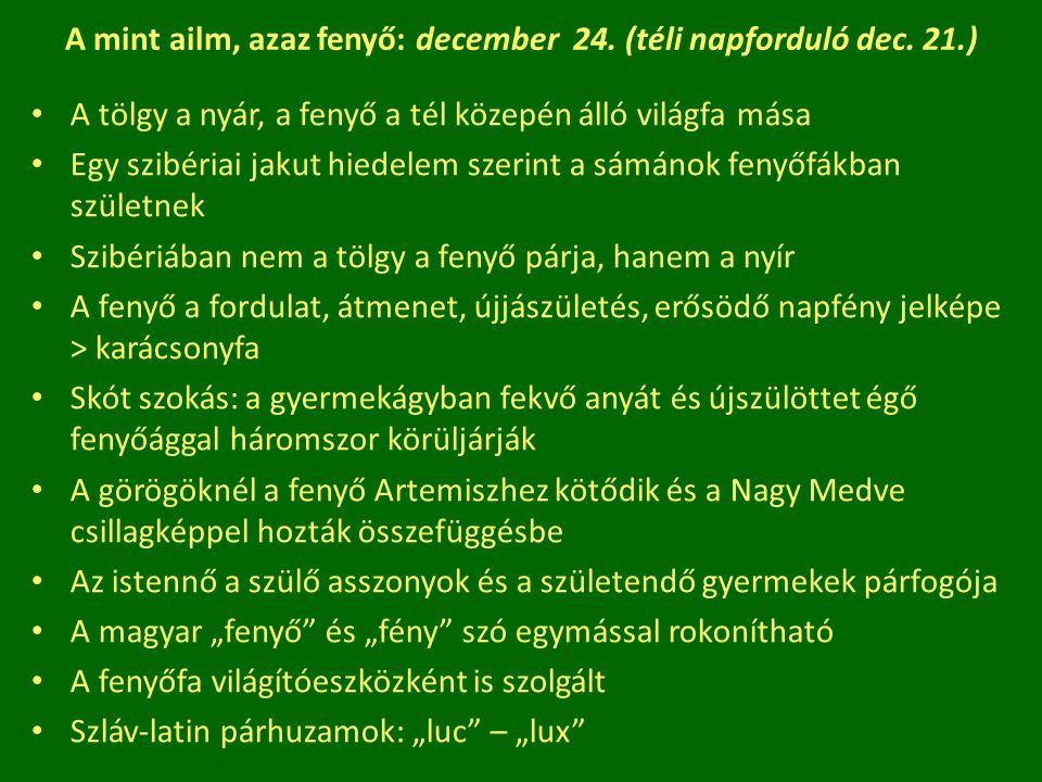 A mint ailm, azaz fenyő: december 24. (téli napforduló dec. 21.) A tölgy a nyár, a fenyő a tél közepén álló világfa mása Egy szibériai jakut hiedelem