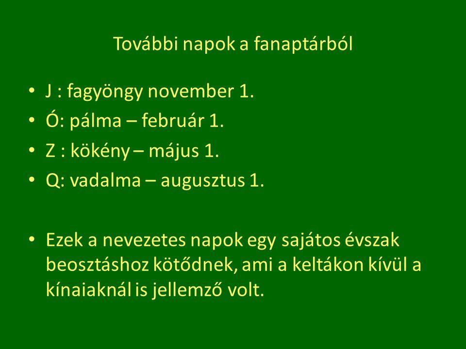 További napok a fanaptárból J : fagyöngy november 1. Ó: pálma – február 1. Z : kökény – május 1. Q: vadalma – augusztus 1. Ezek a nevezetes napok egy