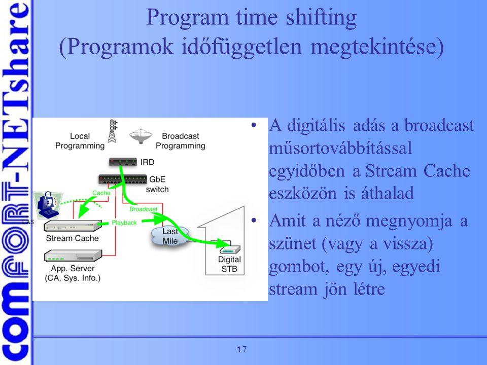 17 Program time shifting (Programok időfüggetlen megtekintése) A digitális adás a broadcast műsortovábbítással egyidőben a Stream Cache eszközön is át
