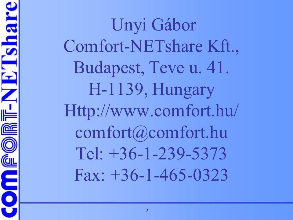 2 Unyi Gábor Comfort-NETshare Kft., Budapest, Teve u. 41. H-1139, Hungary Http://www.comfort.hu/ comfort@comfort.hu Tel: +36-1-239-5373 Fax: +36-1-465