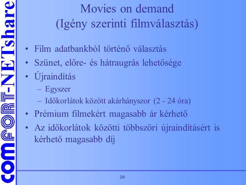 20 Movies on demand (Igény szerinti filmválasztás) Film adatbankból történő választás Szünet, előre- és hátraugrás lehetősége Újraindítás –Egyszer –Id