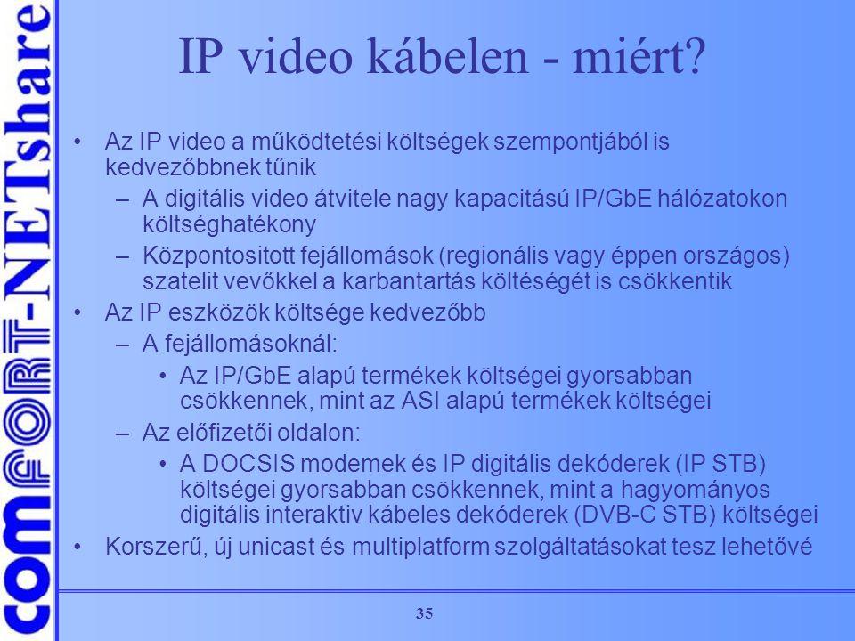35 IP video kábelen - miért? Az IP video a működtetési költségek szempontjából is kedvezőbbnek tűnik –A digitális video átvitele nagy kapacitású IP/Gb