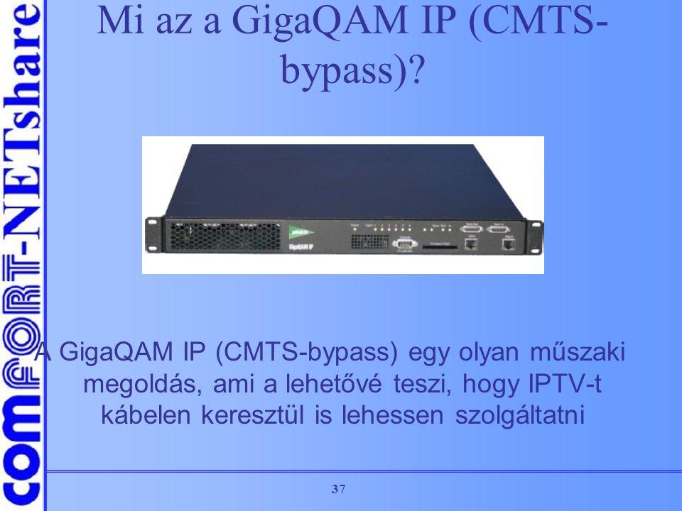 37 A GigaQAM IP (CMTS-bypass) egy olyan műszaki megoldás, ami a lehetővé teszi, hogy IPTV-t kábelen keresztül is lehessen szolgáltatni Mi az a GigaQAM