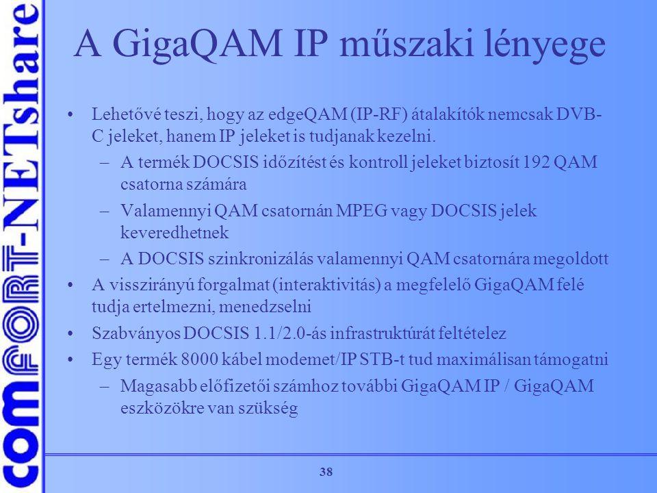 38 A GigaQAM IP műszaki lényege Lehetővé teszi, hogy az edgeQAM (IP-RF) átalakítók nemcsak DVB- C jeleket, hanem IP jeleket is tudjanak kezelni. –A te
