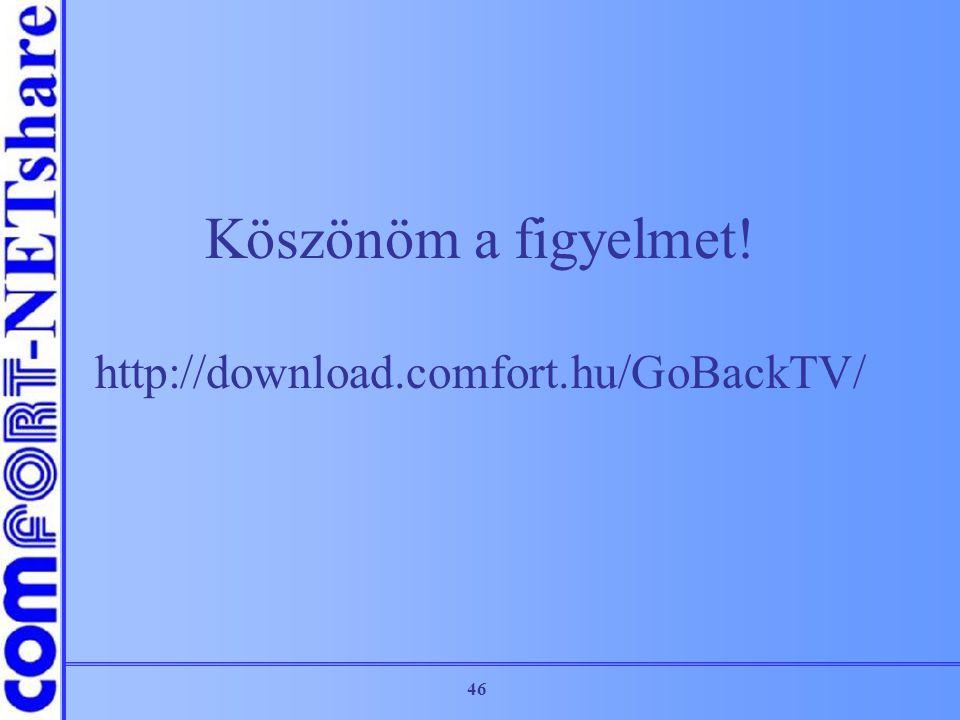 46 Köszönöm a figyelmet! http://download.comfort.hu/GoBackTV/