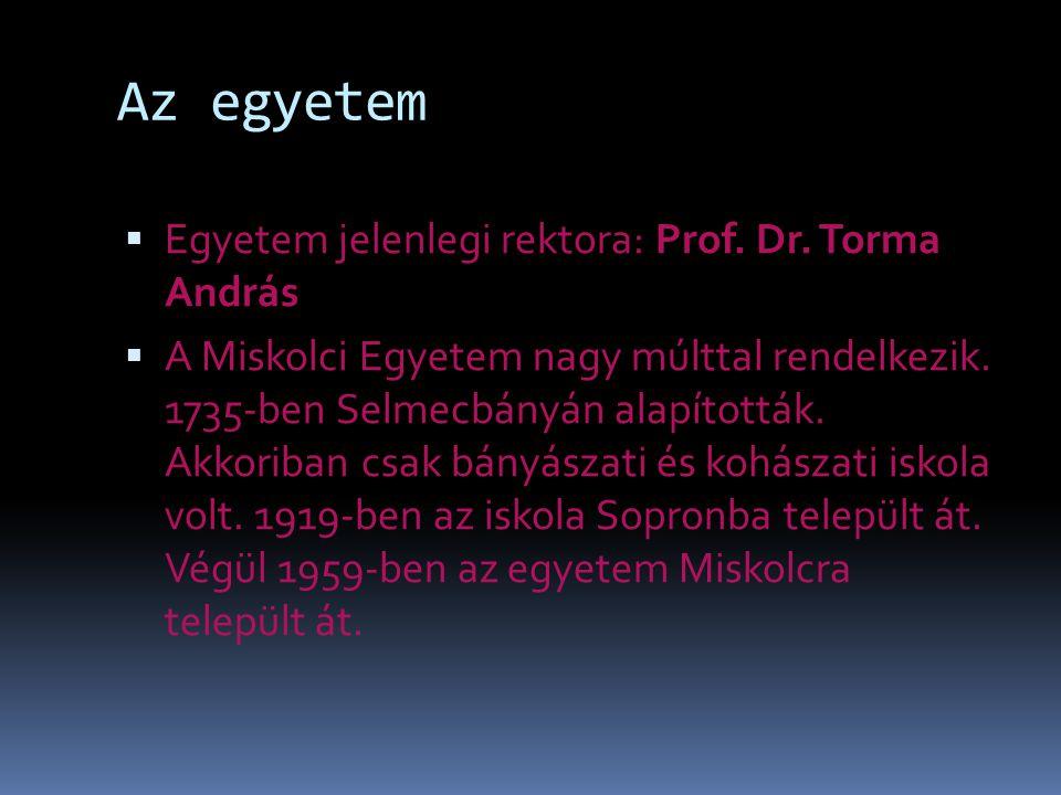 Az egyetem  Egyetem jelenlegi rektora: Prof. Dr.