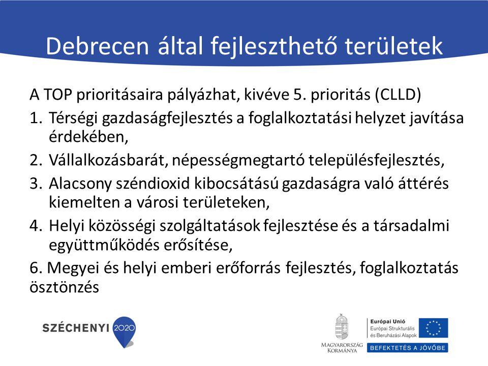 Debrecen által fejleszthető területek A TOP prioritásaira pályázhat, kivéve 5. prioritás (CLLD) 1.Térségi gazdaságfejlesztés a foglalkoztatási helyzet