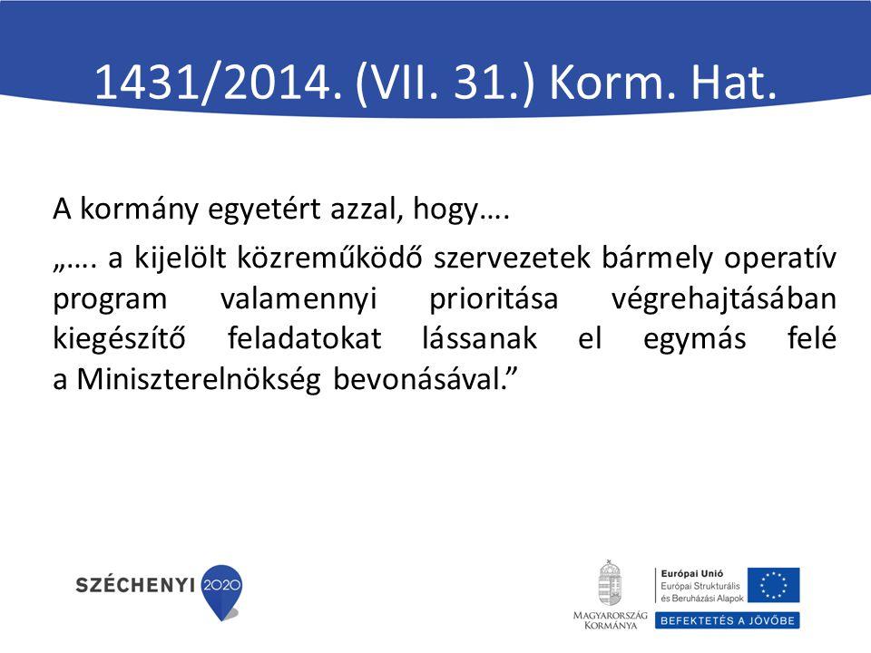 """1431/2014. (VII. 31.) Korm. Hat. A kormány egyetért azzal, hogy…. """"…. a kijelölt közreműködő szervezetek bármely operatív program valamennyi prioritás"""