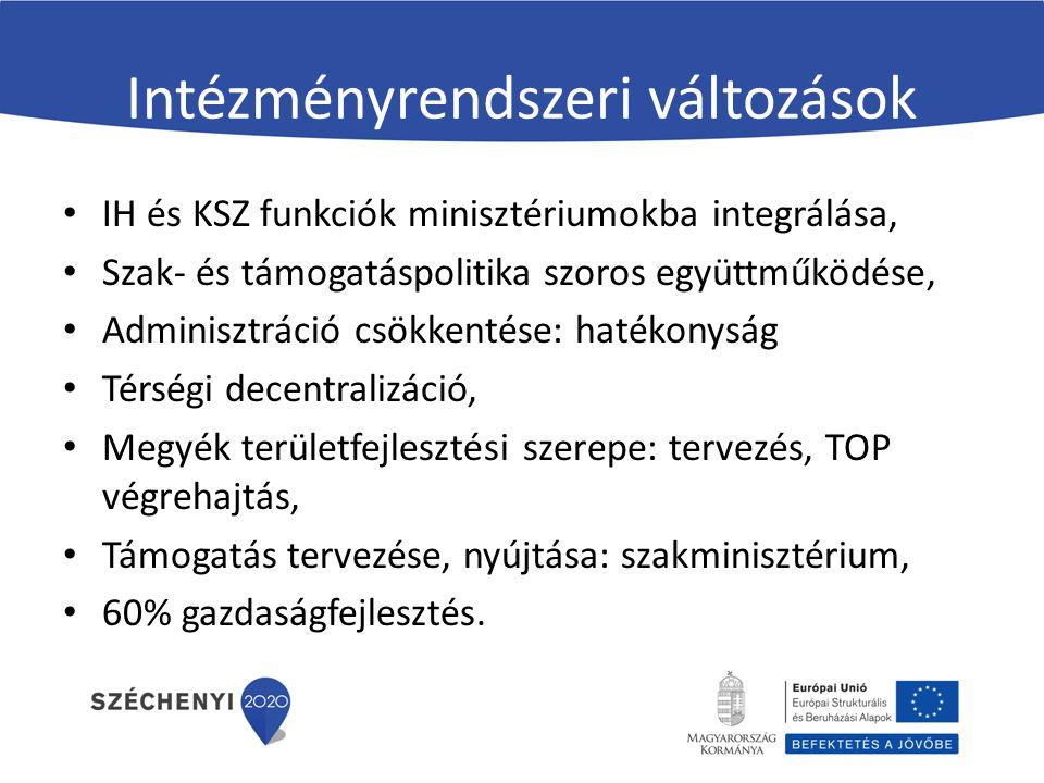 Intézményrendszeri változások IH és KSZ funkciók minisztériumokba integrálása, Szak- és támogatáspolitika szoros együttműködése, Adminisztráció csökkentése: hatékonyság Térségi decentralizáció, Megyék területfejlesztési szerepe: tervezés, TOP végrehajtás, Támogatás tervezése, nyújtása: szakminisztérium, 60% gazdaságfejlesztés.