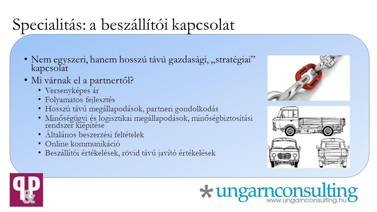 """Specialitás: a beszállítói kapcsolat Nem egyszeri, hanem hosszú távú gazdasági, """"stratégiai"""" kapcsolat Mi várnak el a partnertől? Versenyképes ár Foly"""