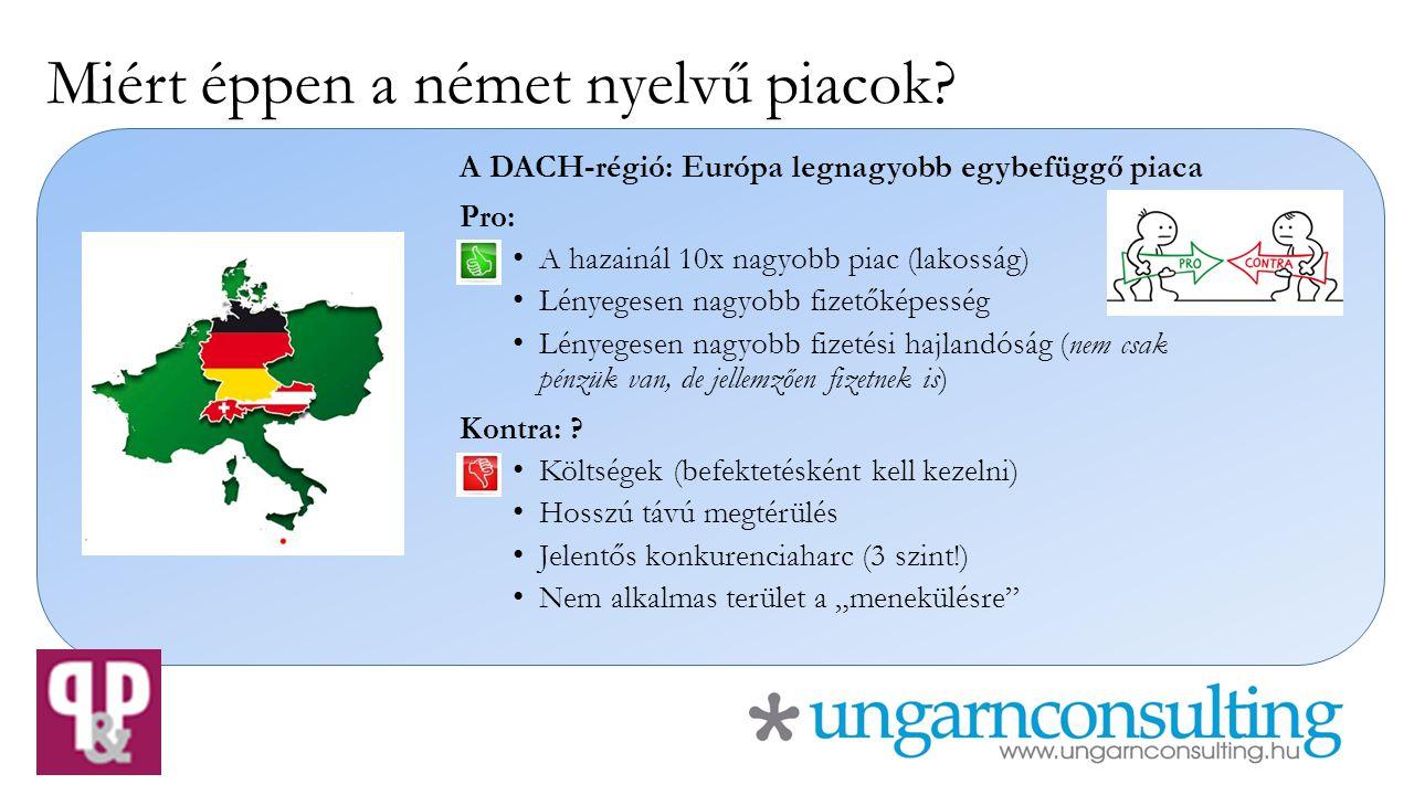Miért éppen a német nyelvű piacok.Számtalan makrogazdasági mutató létezik → válasszunk egyet.