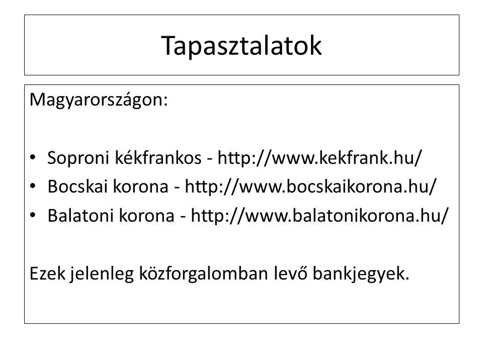 Tapasztalatok Magyarországon: Soproni kékfrankos - http://www.kekfrank.hu/ Bocskai korona - http://www.bocskaikorona.hu/ Balatoni korona - http://www.balatonikorona.hu/ Ezek jelenleg közforgalomban levő bankjegyek.