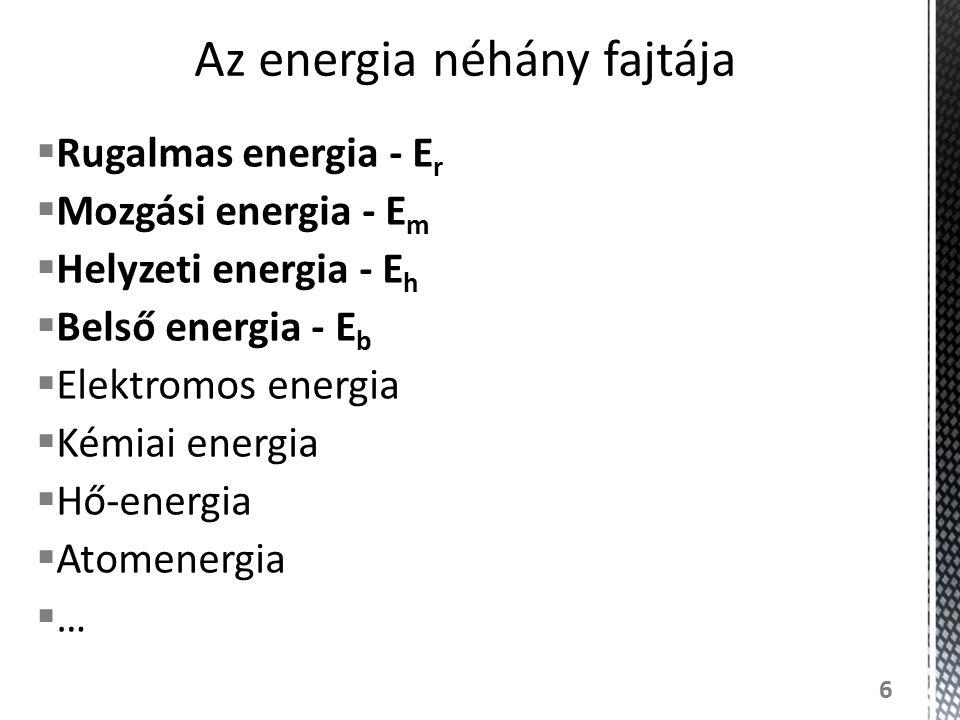  Rugalmas energia - E r  Mozgási energia - E m  Helyzeti energia - E h  Belső energia - E b  Elektromos energia  Kémiai energia  Hő-energia  A