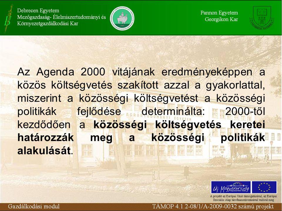 Az Agenda 2000 vitájának eredményeképpen a közös költségvetés szakított azzal a gyakorlattal, miszerint a közösségi költségvetést a közösségi politikák fejlődése determinálta: 2000-től kezdődően a közösségi költségvetés keretei határozzák meg a közösségi politikák alakulását.