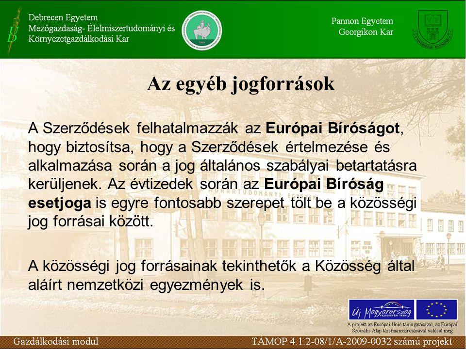 Az egyéb jogforrások A Szerződések felhatalmazzák az Európai Bíróságot, hogy biztosítsa, hogy a Szerződések értelmezése és alkalmazása során a jog általános szabályai betartatásra kerüljenek.
