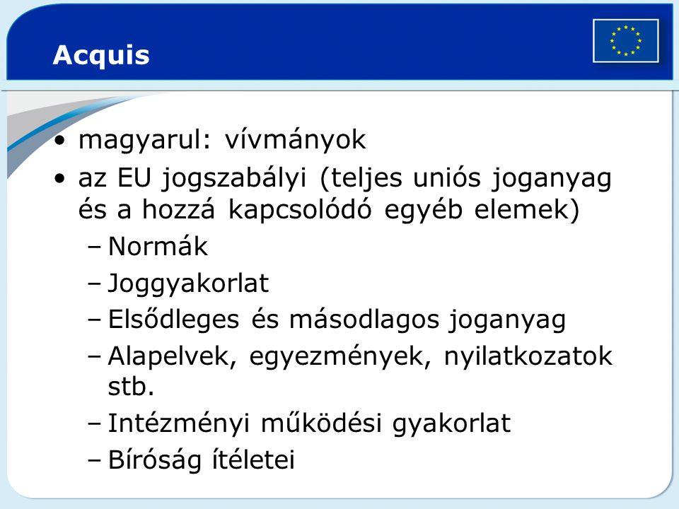Acquis magyarul: vívmányok az EU jogszabályi (teljes uniós joganyag és a hozzá kapcsolódó egyéb elemek) –Normák –Joggyakorlat –Elsődleges és másodlago