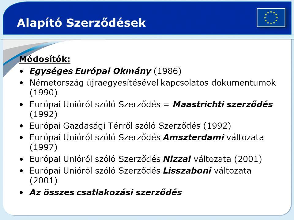 Alapító Szerződések Módosítók: Egységes Európai Okmány (1986) Németország újraegyesítésével kapcsolatos dokumentumok (1990) Európai Unióról szóló Szer