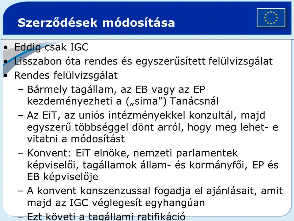 Szerződések módosítása Eddig csak IGC Lisszabon óta rendes és egyszerűsített felülvizsgálat Rendes felülvizsgálat –Bármely tagállam, az EB vagy az EP
