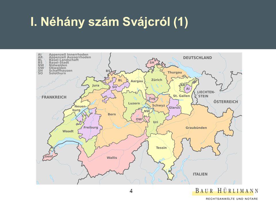 5 26 Kanton 3 hivatalos nyelv (4 beszélt nyelv + számtalan dialektus) 41'285 km2 (csak 70% lakható) 8.1838 Mio.