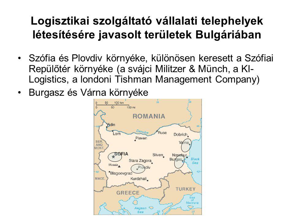 Logisztikai szolgáltató vállalati telephelyek létesítésére javasolt területek Bulgáriában Szófia és Plovdiv környéke, különösen keresett a Szófiai Rep