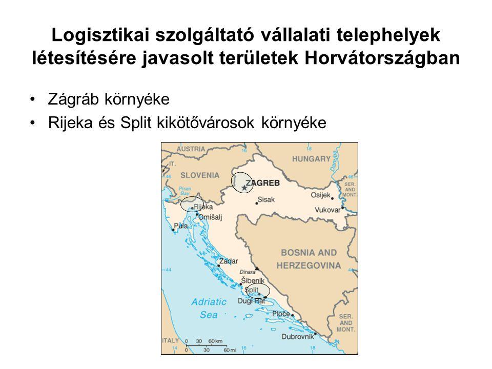 Logisztikai szolgáltató vállalati telephelyek létesítésére javasolt területek Horvátországban Zágráb környéke Rijeka és Split kikötővárosok környéke