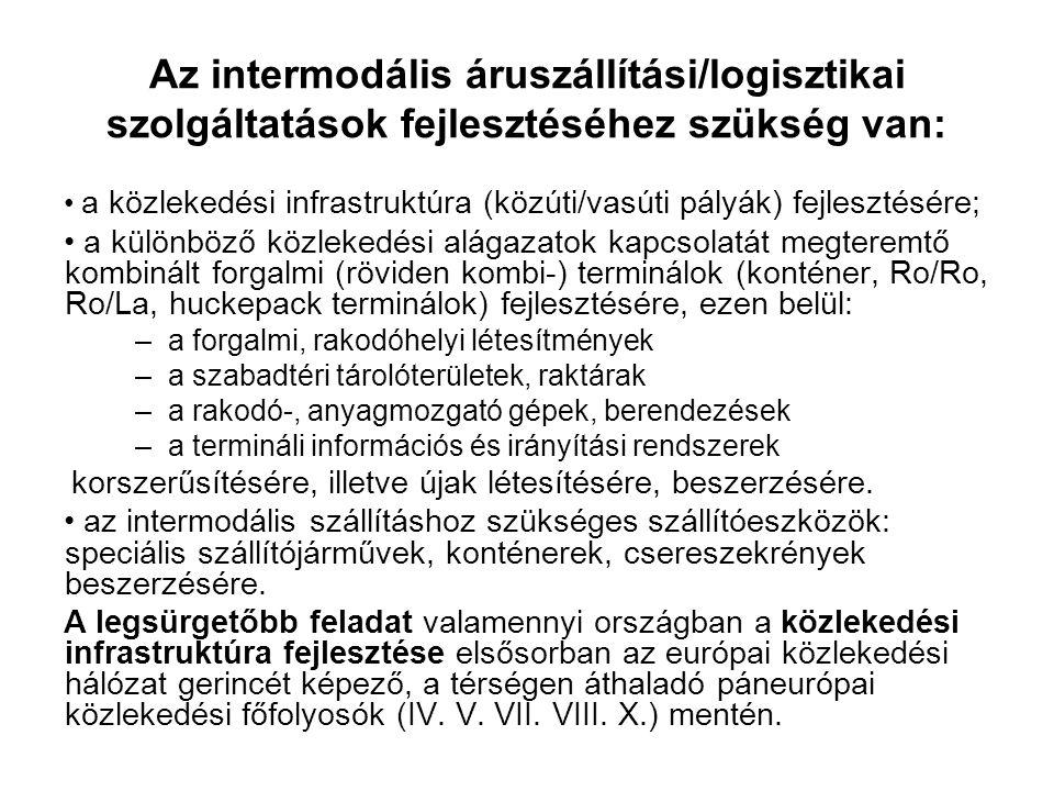 Az intermodális áruszállítási/logisztikai szolgáltatások fejlesztéséhez szükség van: a közlekedési infrastruktúra (közúti/vasúti pályák) fejlesztésére