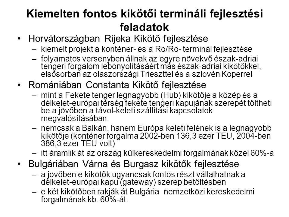 Kiemelten fontos kikötői termináli fejlesztési feladatok Horvátországban Rijeka Kikötő fejlesztése –kiemelt projekt a konténer- és a Ro/Ro- terminál f