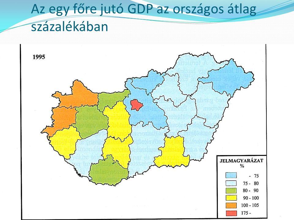 Az egy főre jutó GDP az országos átlag százalékában