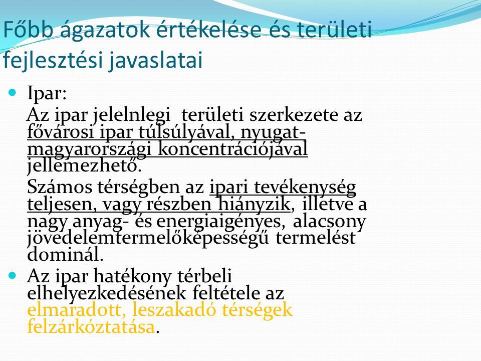 Főbb ágazatok értékelése és területi fejlesztési javaslatai Ipar: Az ipar jelelnlegi területi szerkezete az fővárosi ipar túlsúlyával, nyugat- magyaro