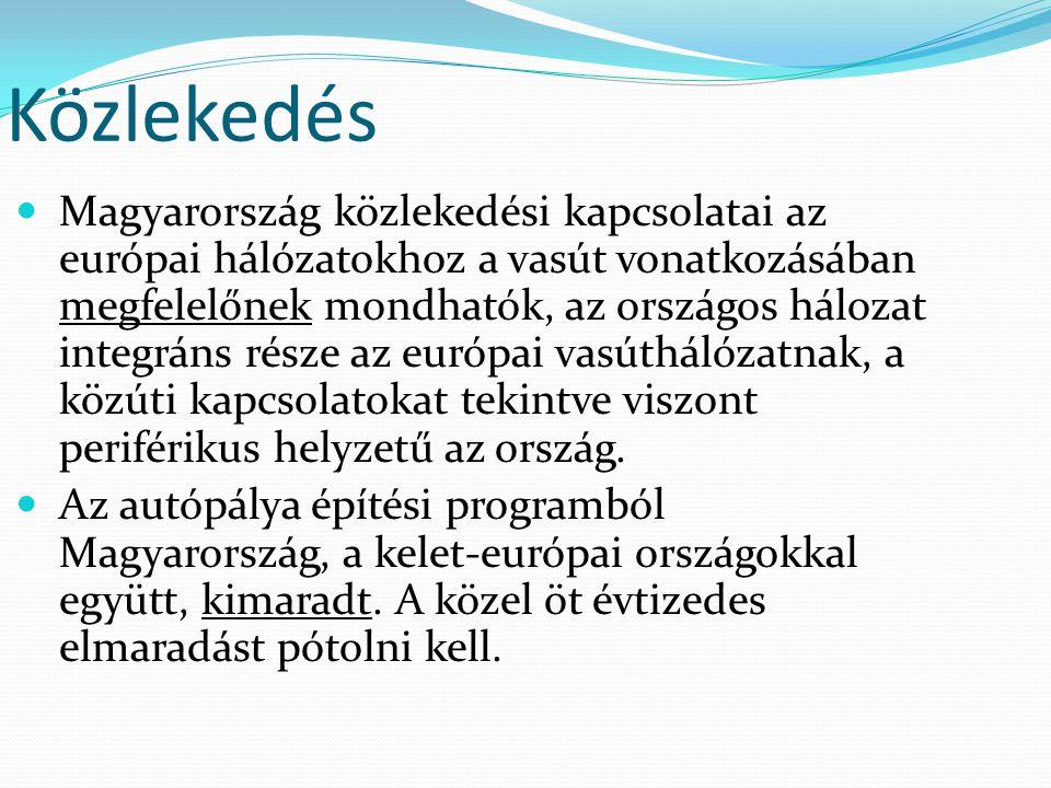 Közlekedés Magyarország közlekedési kapcsolatai az európai hálózatokhoz a vasút vonatkozásában megfelelőnek mondhatók, az országos hálozat integráns r