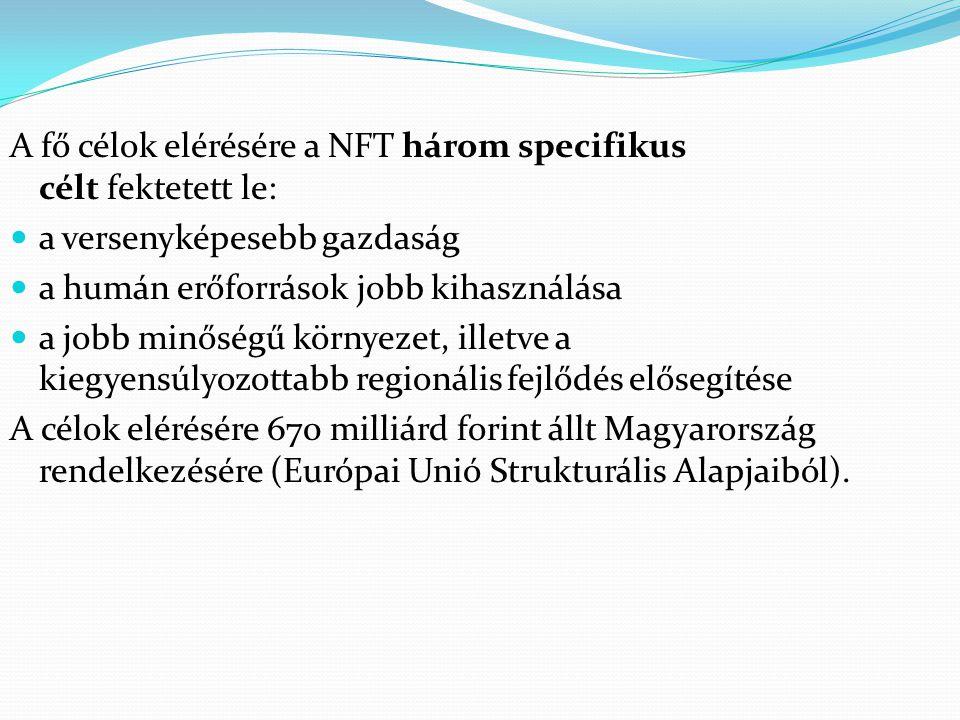 A fő célok elérésére a NFT három specifikus célt fektetett le: a versenyképesebb gazdaság a humán erőforrások jobb kihasználása a jobb minőségű környe
