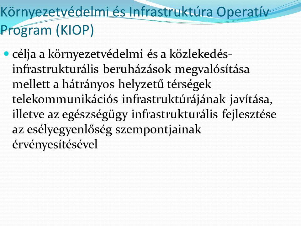 Környezetvédelmi és Infrastruktúra Operatív Program (KIOP) célja a környezetvédelmi és a közlekedés- infrastrukturális beruházások megvalósítása melle