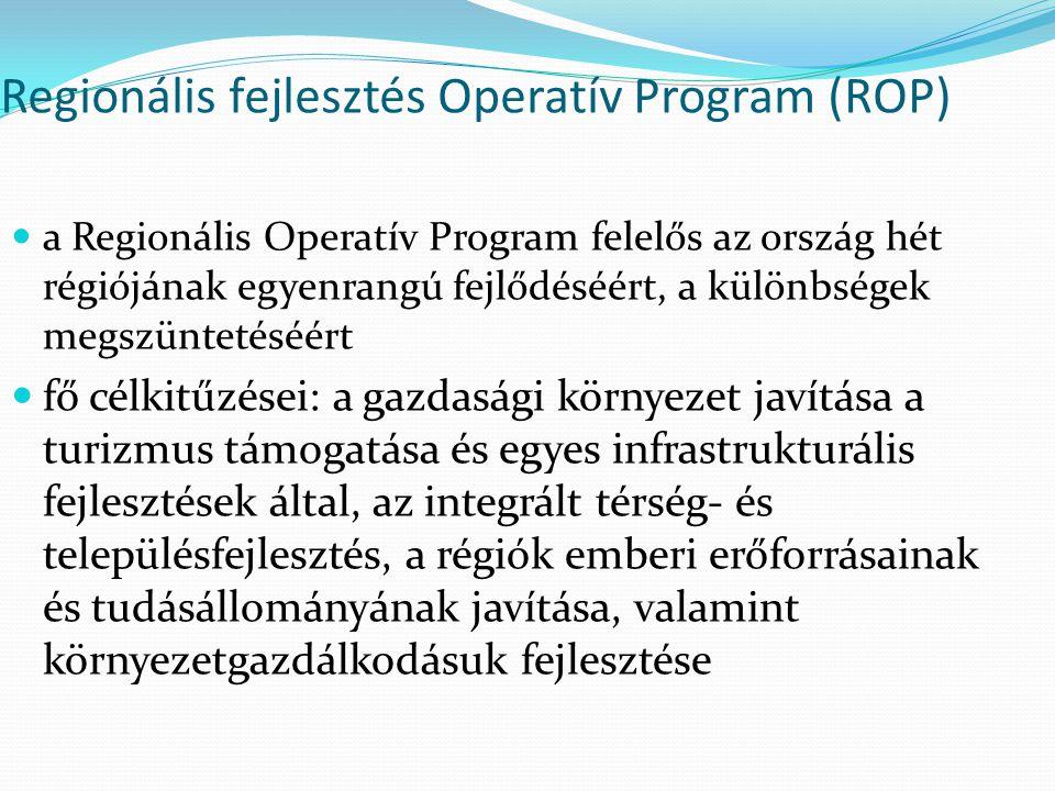 Regionális fejlesztés Operatív Program (ROP) a Regionális Operatív Program felelős az ország hét régiójának egyenrangú fejlődéséért, a különbségek meg