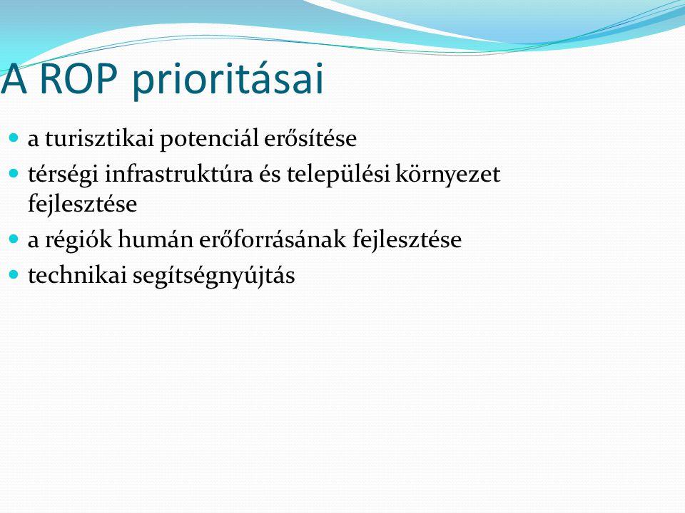 A ROP prioritásai a turisztikai potenciál erősítése térségi infrastruktúra és települési környezet fejlesztése a régiók humán erőforrásának fejlesztés