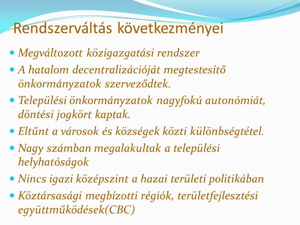 Rendszerváltás következményei Megváltozott közigazgatási rendszer A hatalom decentralizációját megtestesítő önkormányzatok szerveződtek. Települési ön