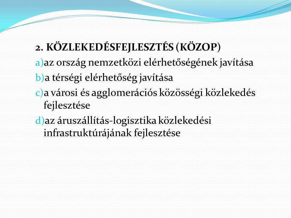 2. KÖZLEKEDÉSFEJLESZTÉS (KÖZOP) a) az ország nemzetközi elérhetőségének javítása b) a térségi elérhetőség javítása c) a városi és agglomerációs közöss