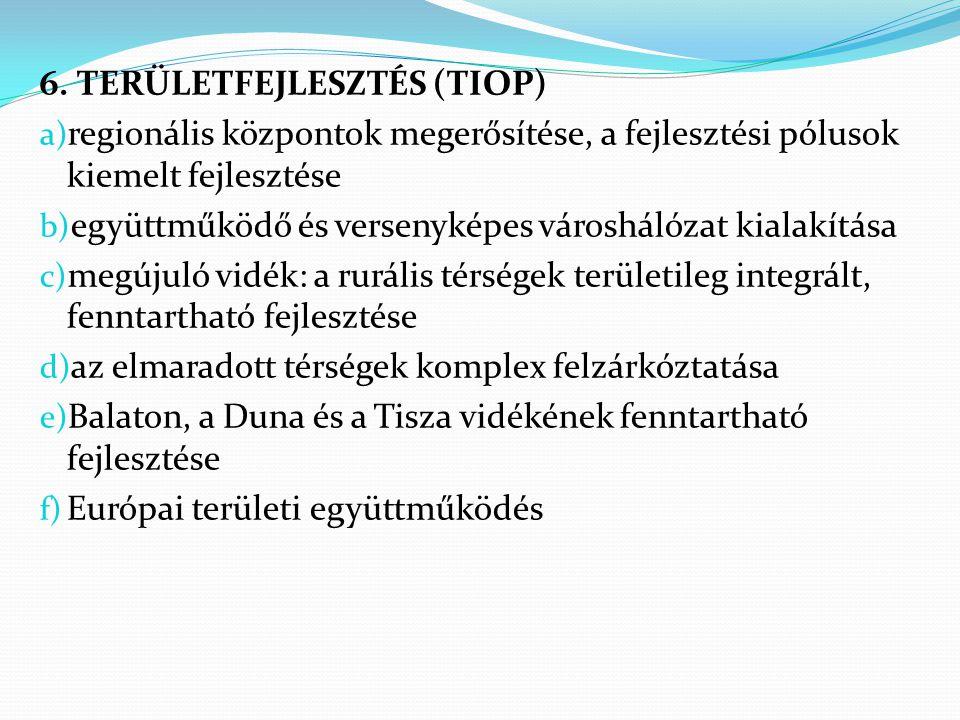 6. TERÜLETFEJLESZTÉS (TIOP) a) regionális központok megerősítése, a fejlesztési pólusok kiemelt fejlesztése b) együttműködő és versenyképes városhálóz