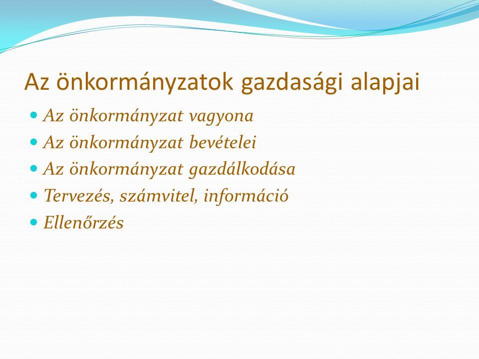 Az önkormányzatok gazdasági alapjai Az önkormányzat vagyona Az önkormányzat bevételei Az önkormányzat gazdálkodása Tervezés, számvitel, információ Ell
