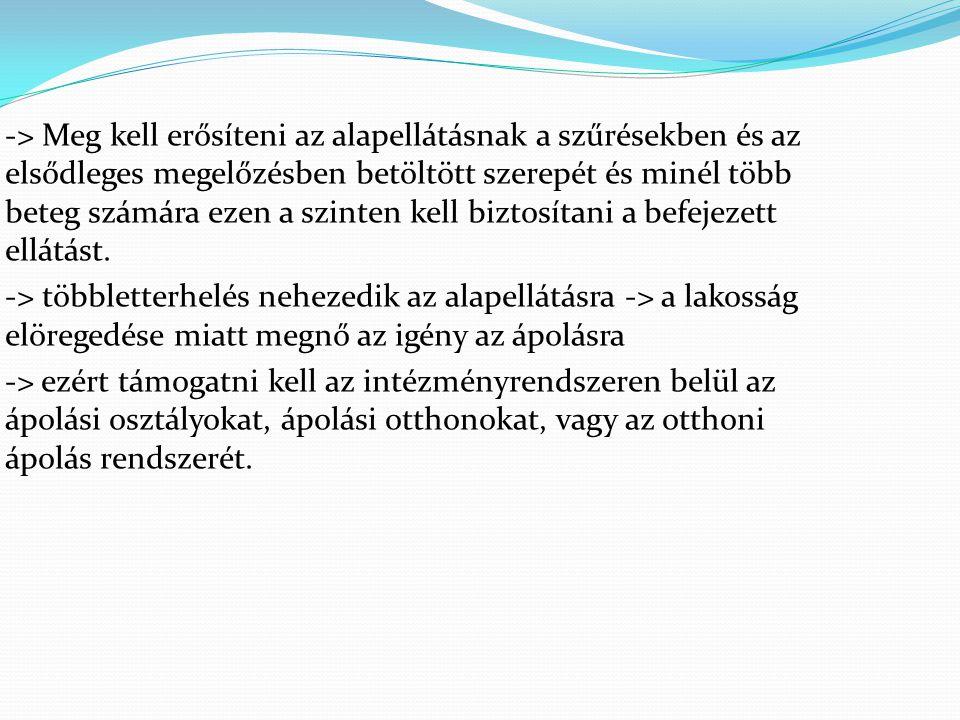 -> Meg kell erősíteni az alapellátásnak a szűrésekben és az elsődleges megelőzésben betöltött szerepét és minél több beteg számára ezen a szinten kell