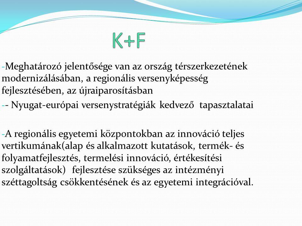 - Meghatározó jelentősége van az ország térszerkezetének modernizálásában, a regionális versenyképesség fejlesztésében, az újraiparosításban - - Nyuga